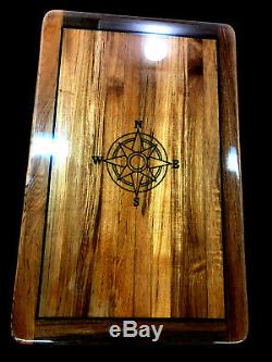 25 by 39 Solid Teak Yacht/Boat/RV Table High Gloss finish withBlack NSEW inlay