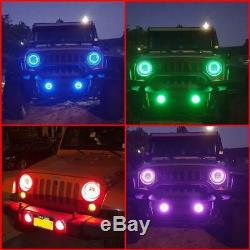 2pcs RGB Halo DRL Turn Signal LED Projector Head Lights Fog Lamps Fit Wrangler