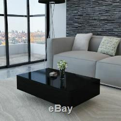 33.5 Coffee Table Tea Side Table MDF High Gloss Accent Living Room White/Black