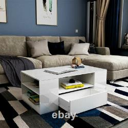 37 Modern High Gloss Coffee Table Side End Table Living Room Furniture withDrawer