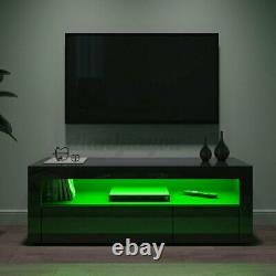 47'' High Gloss TV Stand Unit 2 Drawer with LED Light Entertainment Center Black
