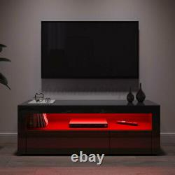 47'' Modern High Gloss TV Stand Cabinet with LED Lights 2 Drawers Storage Black