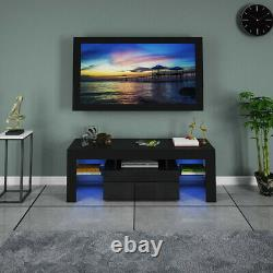 51 High Gloss TV Stand Cabinet Unit Furniture with LED Shelve Storage Black US