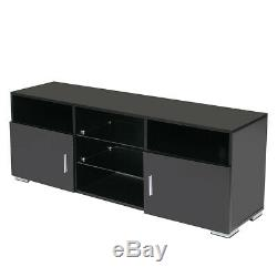 57'' TV Cabinet Stand Unit with 5 LED Light Shelves+2 Doors High Gloss Furniture