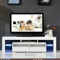 63'' 2 Drawer High Gloss TV Stand Unit Cabinet Console With LED Shelve