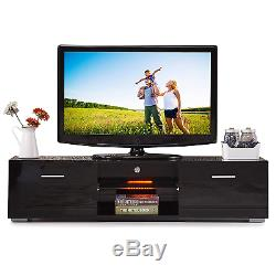 63 High Gloss Black LED Shelves TV Stand Unit Cabinet Drawers Console Furniture