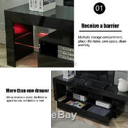 63'' High Gloss LED Light TV Stand Unit Console Cabinet With 2 Shelves Drawers