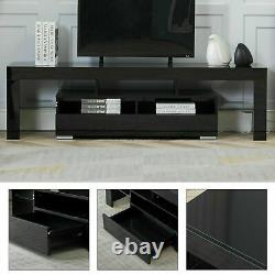 63 High Gloss TV Stand Cabinet Console Unit Furniture Table 2 Drawer LED Shelve
