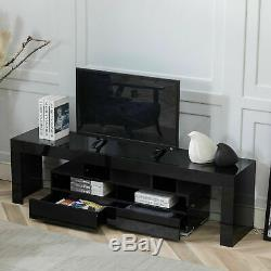 63 High Gloss TV Stand Cabinet Console Unit Furniture Table LED Shelve 2 Drawer
