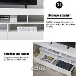 63 High Gloss TV Stand Cabinet Console Unit Furniture with LED Shelve 2 Drawers