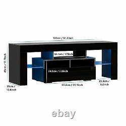 63 High Gloss TV Stand Cabinet with 20LED Lights Entertainment Center for 70TV