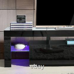 63 High Gloss TV Stand Entertainment Center Furniture Console Cabinet Black