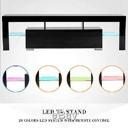 63 High Gloss TV Stand Unit Cabinet LED Shelves Drawer Console Furniture Black