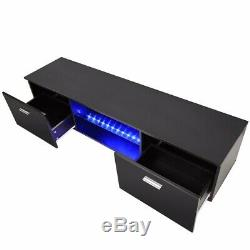 63 High Gloss TV Stand Unit Cabinet with LED Shelves 2 Drawer Console Furniture