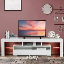 63 TV Cabinet Stand Unit Media Console High Gloss Table for 70 inch LED Lights