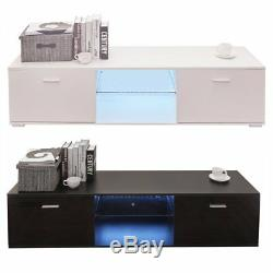 63 TV Stand High Gloss Unit Cabinet with LED Light Shelves 2 Drawers Console BT