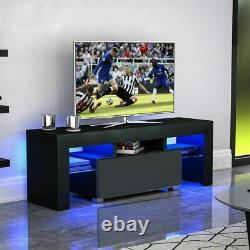 63 TV Stand LED Light 2 Drawers High Gloss Entertainment Center Media Console