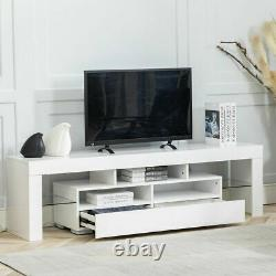 70''TV Stand High Gloss Unit Cabinet Drawers LED Light Living Room Furniture