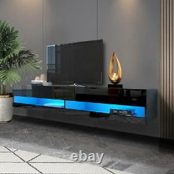 80 Floating High Gloss TV Unit Stand withLED Lights Storage Shelve Home Furniture