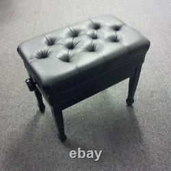 Adjustable Piano Stool With Storage. High Gloss Black With Deep Button Top