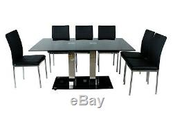 Black High Gloss Chrome Dining Table Set Black and 6 Leather Chairs Seat