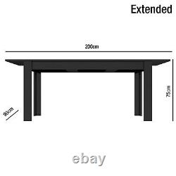 Black High Gloss Extendable Dining Table Modern Wooden 4/6 Seater
