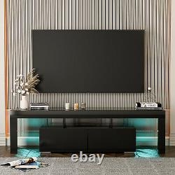 Black High Gloss LED TV Stand withLED Light Cabinet 2 Drawers Entertainment Center