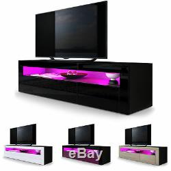 Black High Gloss Modern TV Stand Unit Media Entertainment Center Valencia