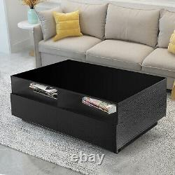Black LED Coffee Table High Gloss with Drawers Storage Side End Table Furniture
