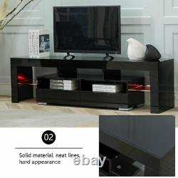 Black TV Stand Entertainment Center with LED Lights High Gloss Wood for 70'' TV US