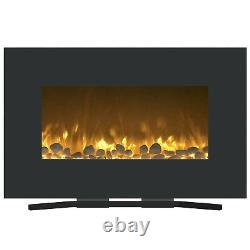 Color Changing Electric Fireplace Wall Mount and Stand Remote 36 x 22 Inch
