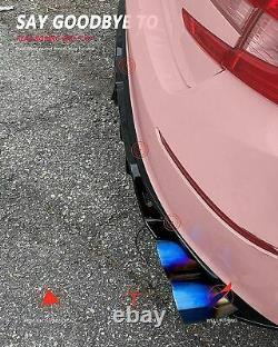 Fit for 18-20 Accord Sport&Touring Car Deep Fin Diffuser Gloss Black withLED Brake