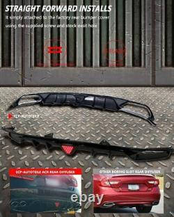 Fit for 18-21 Accord X Sport&Touring Fin Diffuser Gloss Black withRed LED Brake