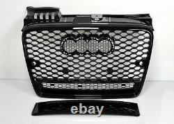For Audi A4 B7 04-08 RS4 Look Honeycomb Grill+LED Headlights Bumper Exhaust