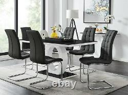 GIOVANI Black White High Gloss Glass Dining Table Set & 6 Leather Chairs Seater