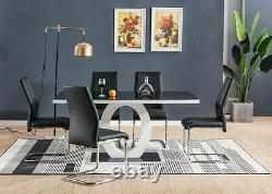Glass Black White High Gloss Dining Table Set and 6 Leather Chairs Seats 2020