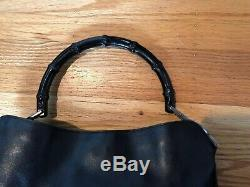 Gucci Bamboo Handle Handbag Black High Gloss Leather Italy Authentic
