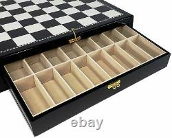 HIGH GLOSS 17 1/2 inch Black and White STORAGE Chess Board With 2 DRAWERS