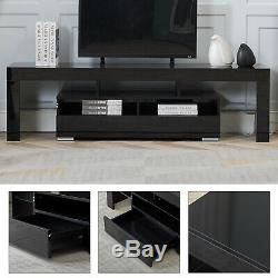 High Gloss 63'' TV Stand Unit Cabinet with Drawers LED Light Living Room Furniture