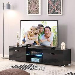 High Gloss Black 63'' TV Stand Unit Cabinet With LED Light 2 Big Drawers Console