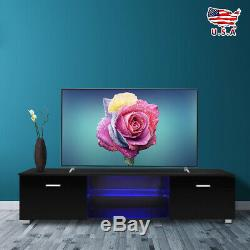 High Gloss Black 63'' TV Stand Unit Cabinet with LED Light 2 Drawers Console US