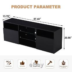 High Gloss Black LED TV Stand Unit 2 Doors 2 Shelves Cabinet Console Furniture