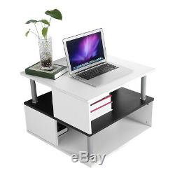 High Gloss Coffee Table Side End Shelf Black & White Living Room Home Furniture