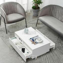 High Gloss LED Coffee Table with 4 Drawer +2 Grids Storage End Table Furniture