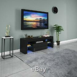 High Gloss LED Light TV Stand withDrawer Unit Console Cabinet With 2 LED Shelves