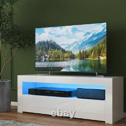 High Gloss LED TV Stand Cabinet with 2 Drawers Entertainment Center for 55 TV