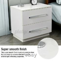High Gloss Nightstand withLED RGB Light 2 Drawers Modern Bedside End Table Bedroom