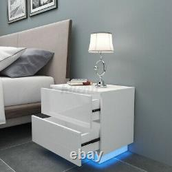 High Gloss RGB LED Nightstand With 2 Drawers Modern Bedside End Table Furniture