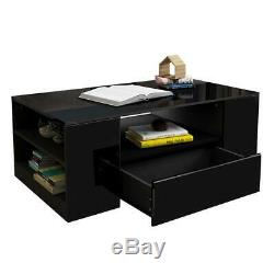 High Gloss Rectangular Coffee Table Storage Desk Furniture Living Room Office