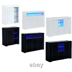 High Gloss Sideboard Buffet Storage Cabinet Console Table with LED Lights Entryway